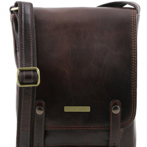 Tuscany Leather TL141406 Roby - Leather crossbody bag for men with front straps Dark Brown