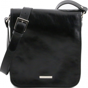 Tuscany Leather TL141255 TL Messenger - Sac bandoulière en cuir 2 compartiments Noir