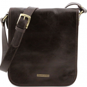 Tuscany Leather TL141255 TL Messenger - Sac bandoulière en cuir 2 compartiments Marron foncé