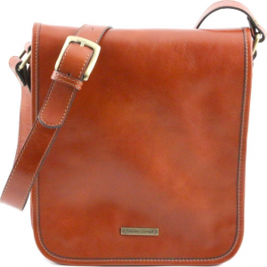 Tuscany Leather TL141255 TL Messenger - Two compartments leather shoulder bag Honey