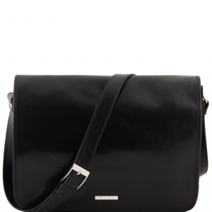 Tuscany Leather TL90475 Messenger double - Besace en cuir Noir