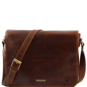 Tuscany Leather TL90475 Messenger double - Besace en cuir Marron