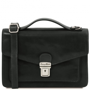 Tuscany Leather TL141443 Eric - Leather Crossbody Bag Black