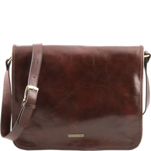 Tuscany Leather TL141254 TL Messenger - Sac bandoulière en cuir 2 compartiments - Grand modèle Marron