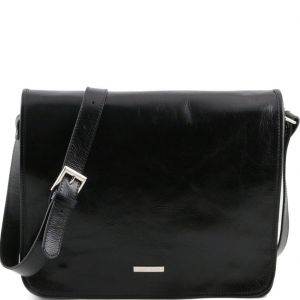 Tuscany Leather TL141254 TL Messenger - Sac bandoulière en cuir 2 compartiments - Grand modèle Noir