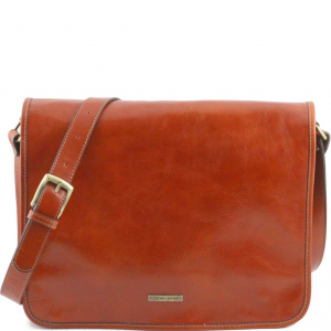 Tuscany Leather TL141254 TL Messenger - Sac bandoulière en cuir 2 compartiments - Grand modèle Miel