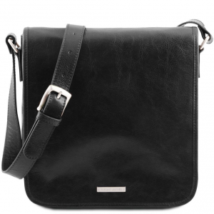 Tuscany Leather TL141260 TL Messenger - One compartment leather shoulder bag Black