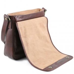 Tuscany Leather TL141260 TL Messenger - Sac bandoulière en cuir 1 compartiment Noir