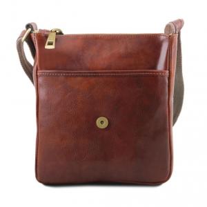 Tuscany Leather TL141408 John - Sac en cuir pour homme avec zip frontal Marron