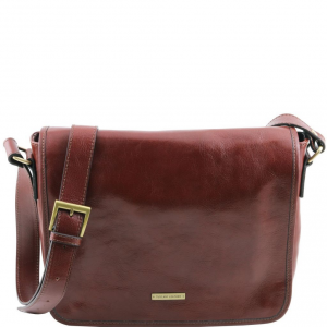 Tuscany Leather TL141301 TL Messenger - One compartment leather shoulder bag - Medium size Brown