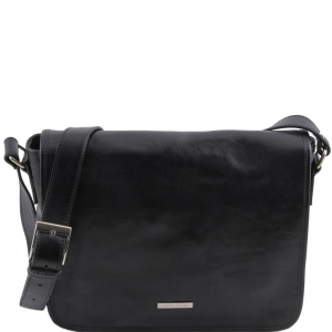 Tuscany Leather TL141301 TL Messenger - Borsa a tracolla 1 scomparto - Misura media Nero