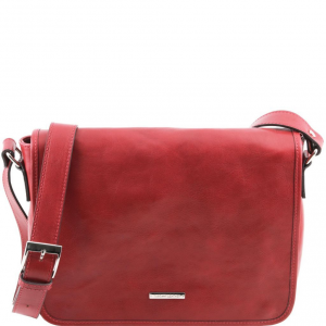 Tuscany Leather TL141301 TL Messenger - One compartment leather shoulder bag - Medium size Red