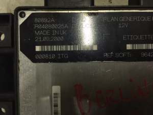 ECU CENTRALINA CITROEN BERLINGO 1.9 DIESEL ENGINE CONTROL UNIT 80892A R04080025A LUCAS