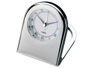 Sveglia orologio da viaggio in silver plated cm.14,5x14,5x7h