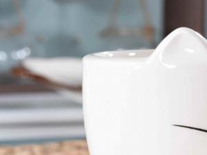 Tazza in ceramica con piattino a forma di gatto (713134)