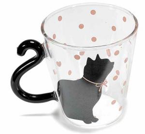 Tazza in vetro decorato con manico a coda di gatto (801323)