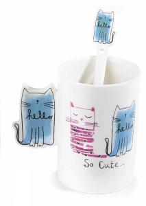 Tazze tisanierea in porcellana con disegnati gatti o cani, con cucchiaino e filtro (713401)