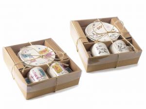 Tazzine da caffé con disegnati dei cani o gatti in scatola da regalo (713400)