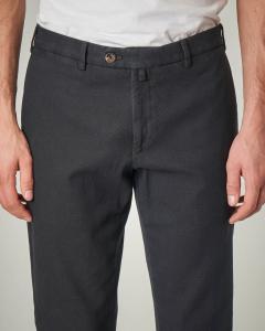 Pantalone chino antracite a trama occhio di pernice