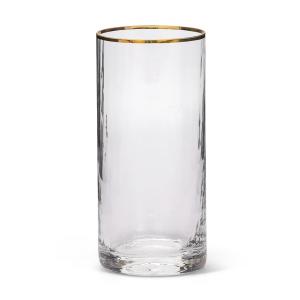 Bicchiere Bibita in Vetro Soffiato con Filo Oro stile Millerighe cm.14,3h diam.6,5