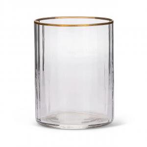 Bicchiere da Vino in Vetro Soffiato Filo Oro stile Millerighe cm.10,2h diam.7,5