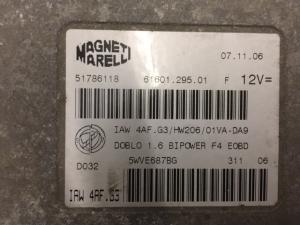 ECU CENTRALINA MOTORE FIAT DOBLO MAGNETI MARELLI  51786118, 61601.295.01, IAW 4AF. G3