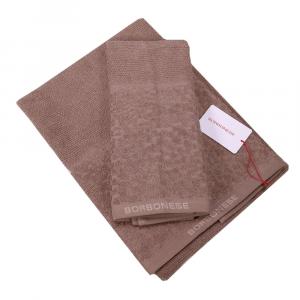 Set 1+1 coppia di spugne asciugamano e ospite Borbonese LIVING marron glacè