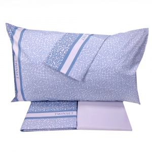 Set lenzuola matrimoniale 2 piazze TWINSET Sauvage blu effetto copriletto