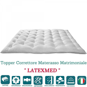 Correttore Materasso in Lattice Alto 7 cm, Topper Letto, Coprimaterasso Imbottitura Fiocco 100% Lattice di Origine Naturale Effetto Piuma Morbido, Futon Ortopedico, Fodera Antiacaro LATEXMED
