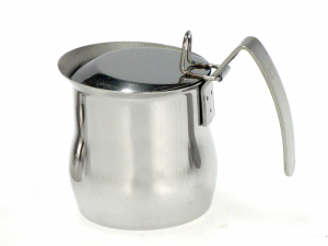 ASTESANI Bricco acciaio inox bombato con coperchio tazzine 3 Colazione
