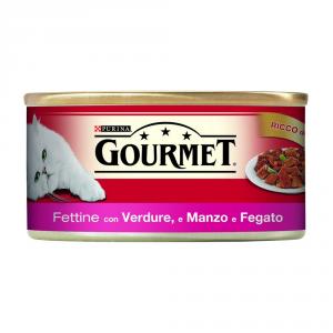 PURINA Rosso Lattina 195 Gr. Fettine Con Manzo, Fegato E Verdure Umido Gatto