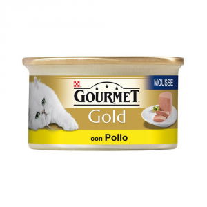 Set  24 PURINA Gold Mousse Con Pollo Delicato Umido Gatto Gr. 85