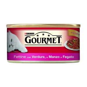 Set  24 PURINA Rosso Lattina 195 Gr. Fettine Con Manzo, Fegato E Verdure Umido Gatto