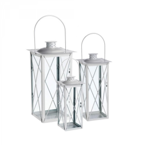 Agricola Home & Garden Lantern Vienna White 12 Cm In Iron & Glass