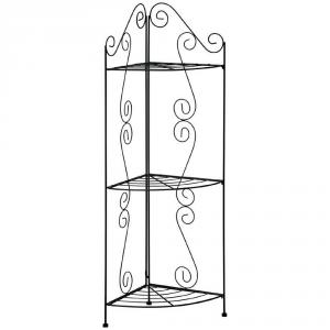 VERDEMAX tres estantes estante de esquina rizo negro Decoración interior etagere