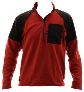 Briko Jersey homme de sport zip court microfleece SATURN OUTDOOR rouge noir 010 009