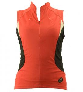 BRIKO Canotta ciclismo spinning donna zip corta LUCID rosso nero 010395--VT