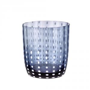 LIVELLARA MILANO vaso de cristal azul carnaval - Cocina mesa