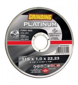 Disk Grinding Platinum For stainless steel mm 115X1 F22 Tools Manual