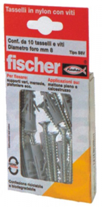 Set 10 Tassello FISCHER With Vine S 10 Vk 4 + 4 Hardware