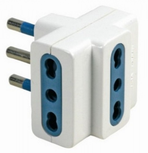 MAURER Adattatore Triplo Spina-Presa Bipasso 16A Materiale Elettrico Civile