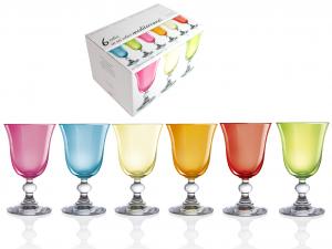 H&H Confezione 6 calici in vetro mediterraneo vino 15 bicchieri tavola