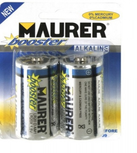 MAURER Set 10 Batteries Alkaline Flashlight 1.5V Pieces 2 Material Electric