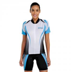 BRIKO Maglia ciclismo spinning maniche corte donna KLUB bianco turchese 100156