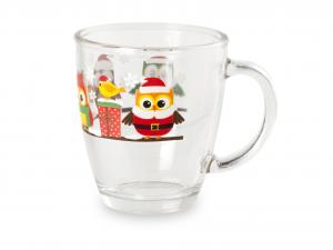 HOME Mug Vetro Gufi Natale Cc380 Preparazione Colazione Arredo Tavola