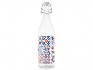 CHIO Set 6 Bottiglia Vetro Decoro Maiorca Assortito Lt1