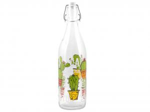 HOME Set 6 Bottiglie Vetro 1 Lt Decoro Cactus Prodotto Made In Italy