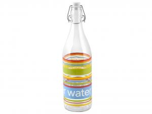 HOME Set 6 Bottiglie Vetro 1 Lt Decoro Multicolor Prodotto Made In Italy