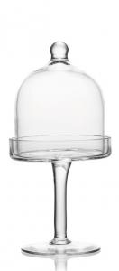 Alzata per dolci e frutta in vetro cn campana cm.27,5h diam.15