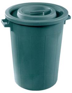 Bidone Plastica Immondizie Verde Lt 50-Senza Coperchio Linea Casa